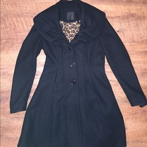 Long, black dress coat by EXPRESS